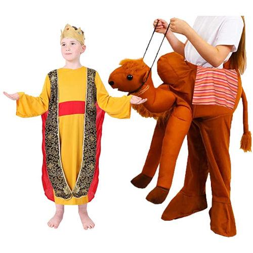 Disfraz amarillo de Rey Mago con camello para niño
