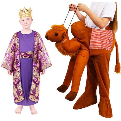 Disfraz lila de Rey Mago con camello para niño