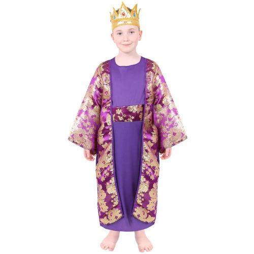 Disfraz de Rey Mago color morado para niños