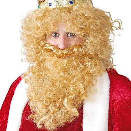 Peluca y barba de Rey Mago rubio